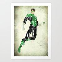 green lantern Art Prints featuring Green Lantern by A Deniz Akerman