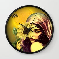sunflower Wall Clocks featuring SUNFLOWER by Julia Lillard Art