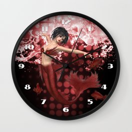 Red Mermaid Wall Clock