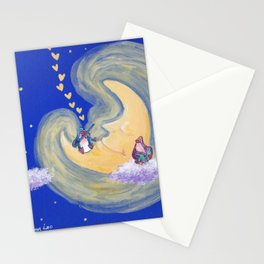 Friends of the Moon Penguins Violin Player and Book Lover Stationery Cards