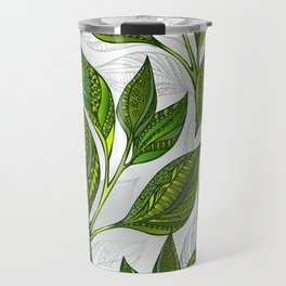 Seamless Pattern with Green Tea Leaves Travel Mug