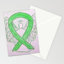 Lime Green Awareness Ribbon Angel Art Stationery Cards