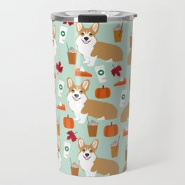 Corgi - Pumpkin Spice, psl, coffee, latte, pumpkin pie,  fall, autumn, holiday, Travel Mug