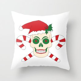 Creepy Christmas Santa Skull Throw Pillow
