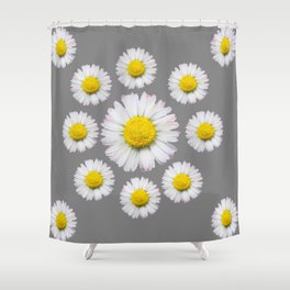 WHITE SHASTA DAISY FLOWERS  DECORATIVE GREY ART Shower Curtain