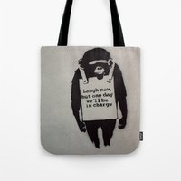 banksy Tote Bags featuring Banksy  by Ashley Griswold Photography
