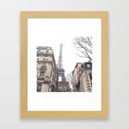 Paris streets, Eiffel tower, city skyline, industrial fine art photo, shabby chic Framed Art Print