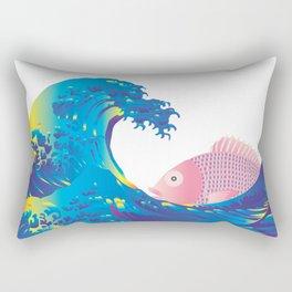 Hokusai Rainbow & Jpanese Snapper  Rectangular Pillow