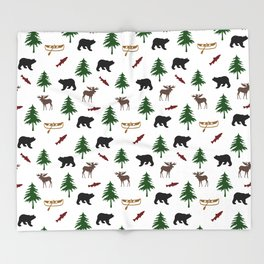 Moose Bear Throw Blanket