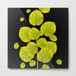 Green Leaves On A Black Background #decor #buyart #society6 Metal Print