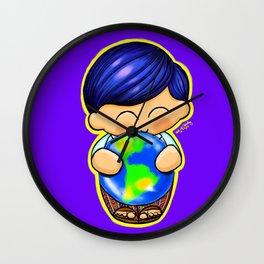 Chapin Kokeshi Boy Blue Wall Clock