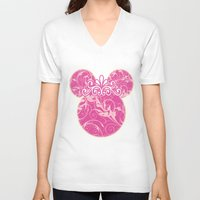minnie mouse V-neck T-shirts featuring Minnie Mouse Princess Pink Swirls by Whimsy and Nonsense