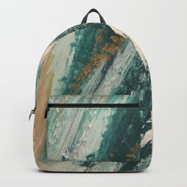 Teal and Gold Glam Abstract Painting Backpack