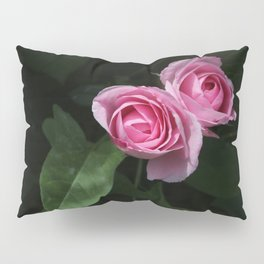 Pink and Dark Green Roses on Black Pillow Sham