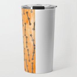 Golden Connected Points on Orange Pattern Travel Mug