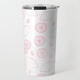 Modern blush pink white lemon berries summer trend Travel Mug