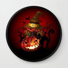 Skull Witch Creepy Halloween Wall Clock