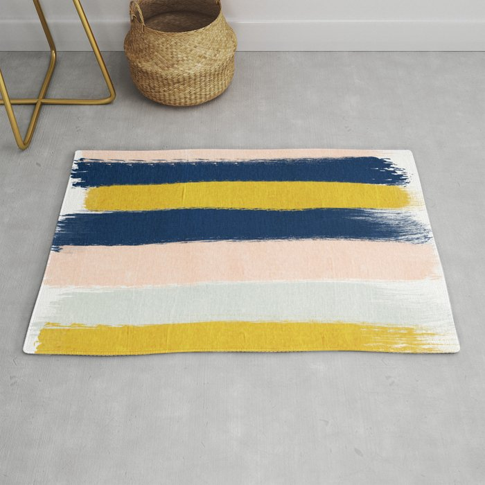 Stripes Minimal Trendy Color Palette Gold Silver Metallic Home Decor Rug By Charlottewinter