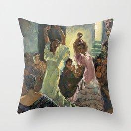 'Scène de Flamenco à Seville' by Jose Herrerilla Cruz Throw Pillow