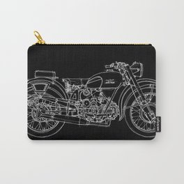 Black Moto Guzzi handmade white line Carry-All Pouch