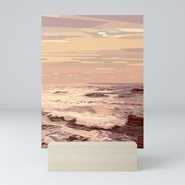 Sea waves at sunset #ocean #horizon #seascape Mini Art Print