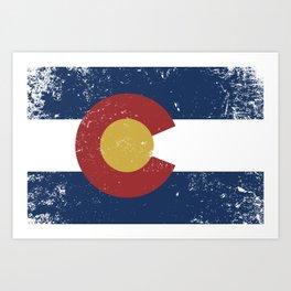 Distressed Colorado Flag Art Print