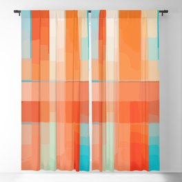 Orange Turquoise Summer Abstract Design Blackout Curtain