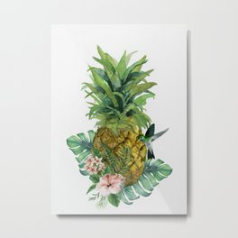 Tropical Pineapple Metal Print