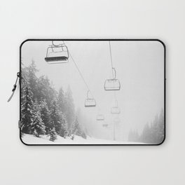 Snow Lift // Ski Chair Lift Colorado Mountains Black and White Snowboarding Vibes Photography Art Print Laptop Sleeve