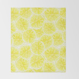 Lemon slices pattern watercolor Throw Blanket