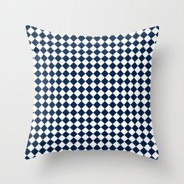 Small Diamonds - White and Oxford Blue Throw Pillow