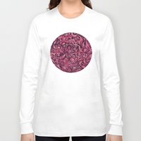 damask Long Sleeve T-shirts featuring Damask Pattern 01 by Aloke Design