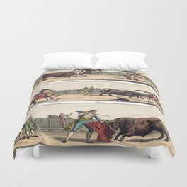 Vintage Bullfighting in Spain Duvet Cover