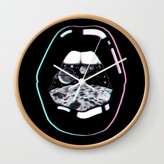 Black Wall Clocks space lips black wall clockcorinne elyse | society6