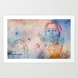 A moça em meio as flores e as borboletas Art Print