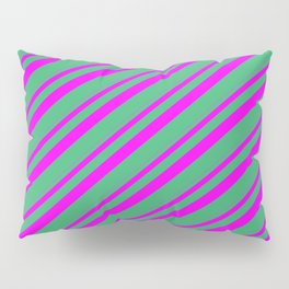 Fuchsia and Sea Green Colored Stripes/Lines Pattern Pillow Sham