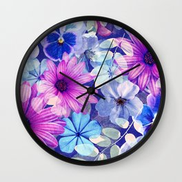 Dark pink and blue floral pattern Wall Clock