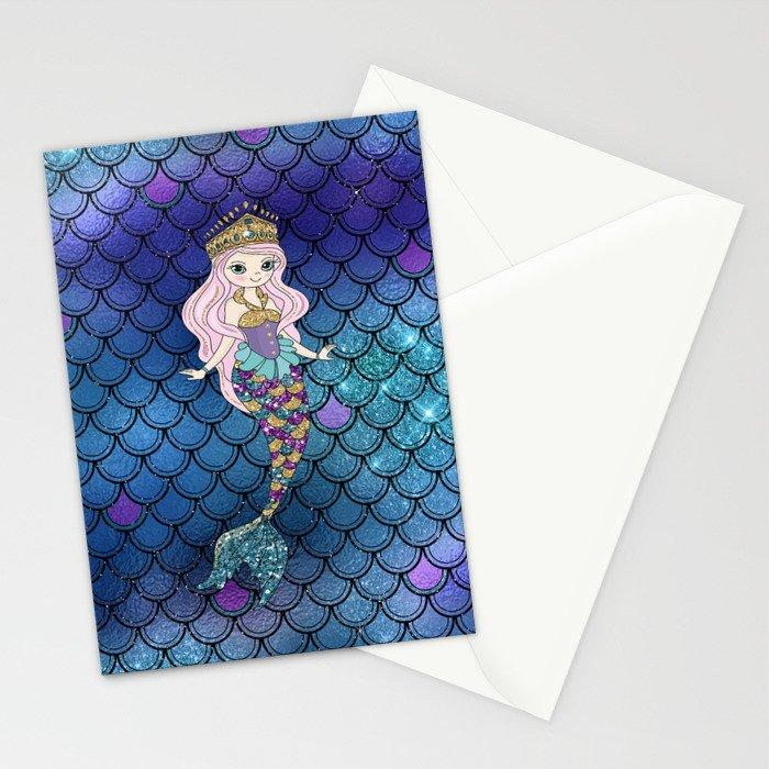 Princess of Sea   Glitter Mermaid Stationery Cards
