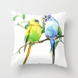 Budgies, Animal art, love, two birds bird artwork, bird pet Throw Pillow