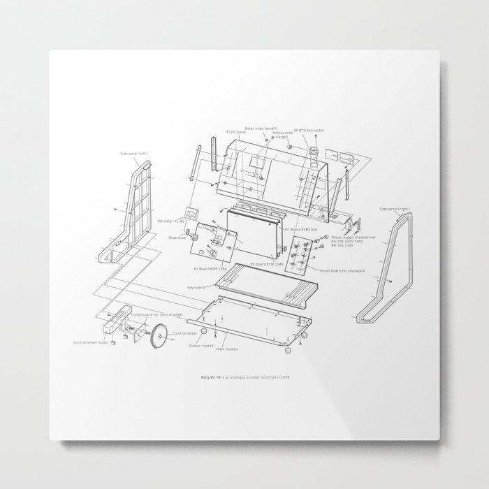Korg VC-10 - exploded diagram Metal Print