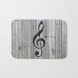 Vintage black music note Treble Clef gray wood Bath Mat