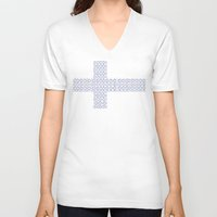 finland V-neck T-shirts featuring digital Flag (Finland) by seb mcnulty