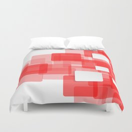 RED AND WHITE SQUARES ON A WHITE BACKGROUND Abstract Art Duvet Cover