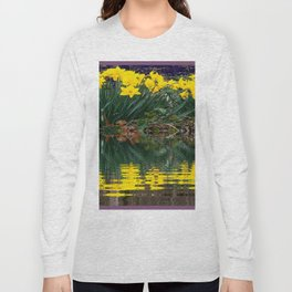 PUCE & YELLOW DAFFODILS WATER REFLECTION PATTERN Long Sleeve T-shirt