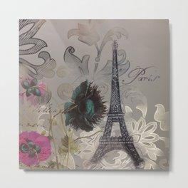shabby elegance poppy flower french vintage paris Eiffel Tower Metal Print