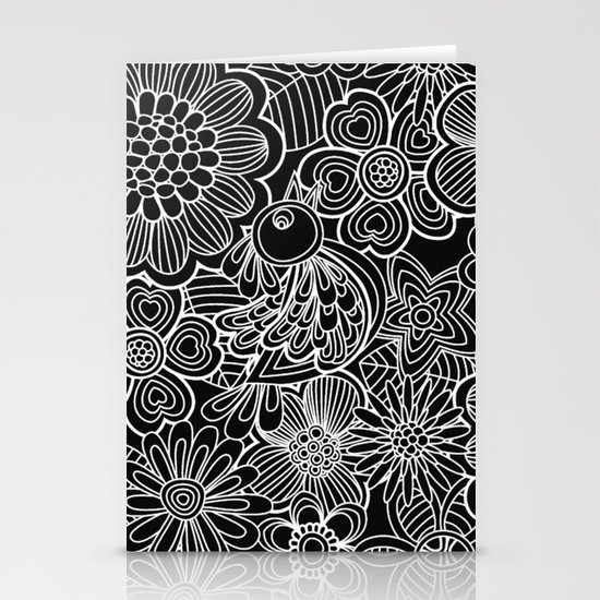 """""""Welcome birds..""""in black and white. Stationery Cards"""