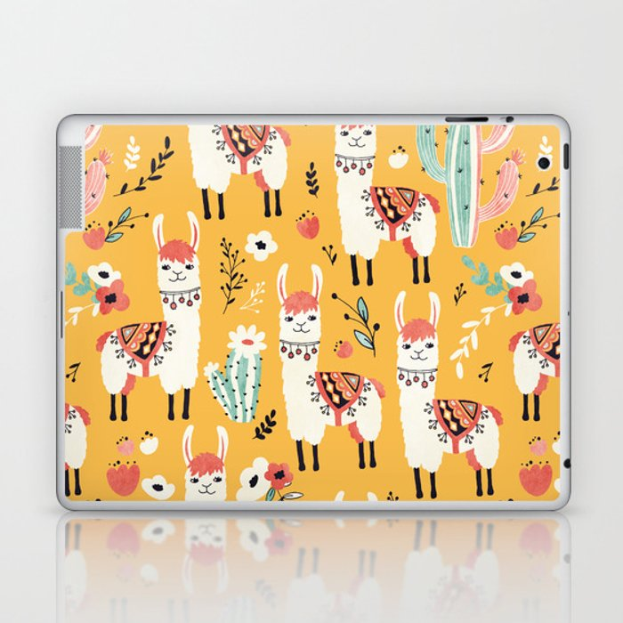 White Llama with flowers Laptop & iPad Skin