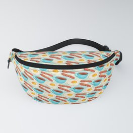 Coffee Bacon & Eggs Pattern - Blue Check Fanny Pack