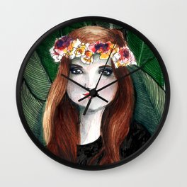 Girl with banana leaves Wall Clock