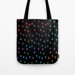 Colorful triangles on black background Tote Bag